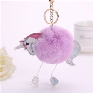 Purple Unicorn Pom Pom Keychain/ Purse Charm